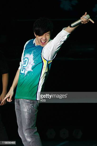 Singaporean JJ Lin attends a Sprite commercial event at Shanghai Grand Stage on July 21 2011 in Shanghai China