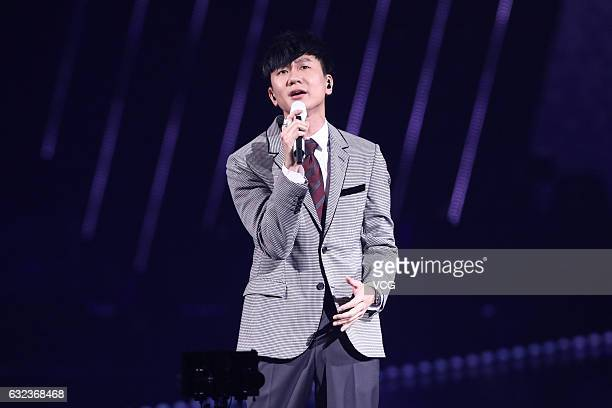 Singaporean singer JJ Lin performs onstage during the 12th KKBOX Music Awards on January 21 2016 in Taipei Taiwan of China