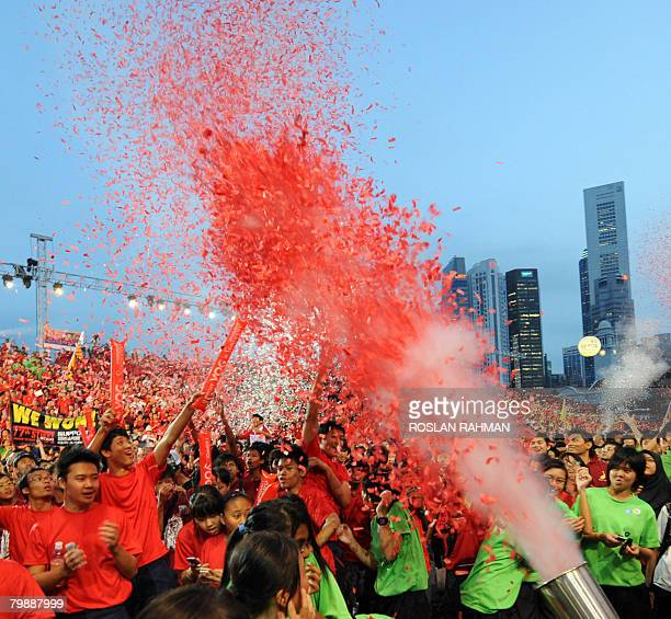 Singaporean students celebrate after the citystate was announced as the host of the 2010 Youth Olympics in Singapore on February 21 2008 Singapore...