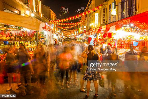 Singapore's Chinatown shopping lane at night
