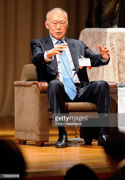 Singapore's former prime minister Lee Kuan Yew gestures as he speaks at an international conference in Tokyo on May 20 2010 Asian political...