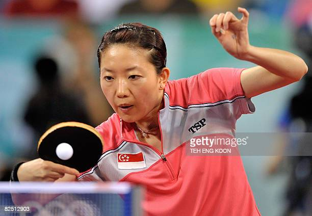 Singapore's Li Jia Wei plays a return against China's Guo Yue during their women's table tennis singles bronze medal match at the 2008 Beijing...
