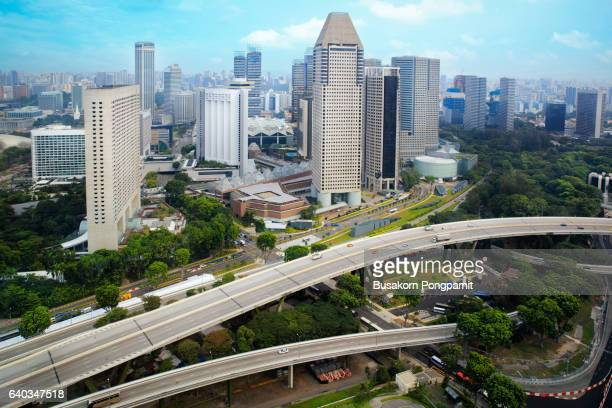 Singapore's modern skyline of banks and office buildings