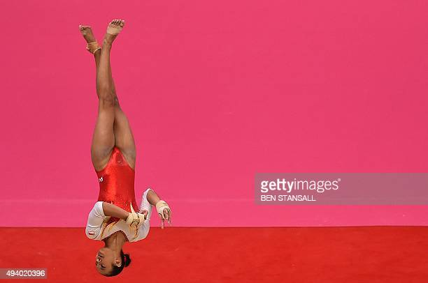 Singapore's Nadine Joy Nathan competes on the floor during the second day of the 2015 World Gymnastics Championship in Glasgow Scotland on October 24...