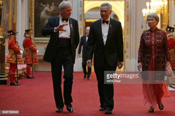 Singapore's Prime Minister Lee Hsien Loong arrives to attend The Queen's Dinner during The Commonwealth Heads of Government Meeting at Buckingham...