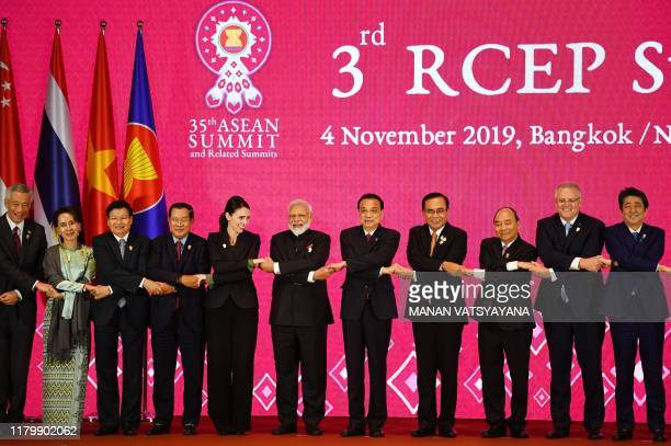Singapore's Prime Minister Lee Hsien Loong Myanmar's State Counsellor Aung San Suu Kyi Laos' Prime Minister Thongloun Sisoulith Cambodia's Prime...