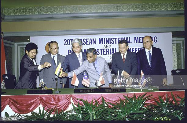 Singapore's Prime Minister Lee Kuan Yew attending ASEAN meeting with Foreign Ministers from the Philippines and Singapore