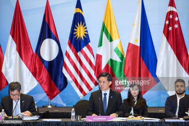 Singapore's Trade and Industry Minister Chan Chun Sing speaks during the 17th ASEAN Economic Community Council Meeting at the 33rd Association of...