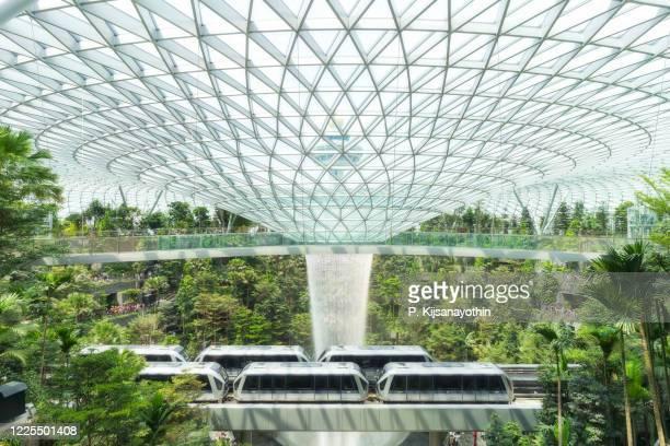 シンガポールで最も高い頂点の滝、ジュウルターミナル。 - チャンギ空港 ストックフォトと画像