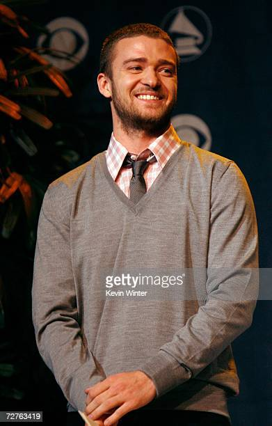 Singe Justin Timberlake reacts to being nominated during the 49th annual Grammy Awards nominations held at the Music Box at The Fonda on December 7...