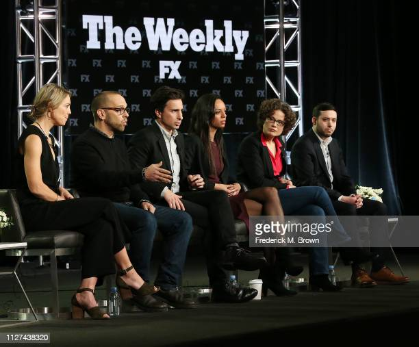 Singeli Agnew Ken Druckerman Sam Dolnick Caitlin Dickerson Sabrina Tavernise and Brian M Rosenthal of the television show The Weekly speak during the...