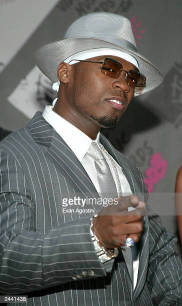 Singer 50 Cent arrives to the 2003 MTV Video Music Awards at Radio City Music Hall on August 28 2003 in New York City