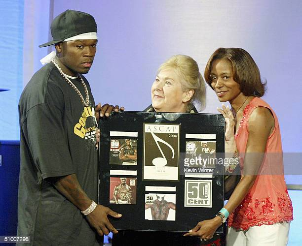 Singer 50 Cent receives Songwriter of the Year Award from ASCAP's Marilyn Bergman and Jeanie Weems at ASCAP's 17th Annual Rhythm Soul Music Awards at...