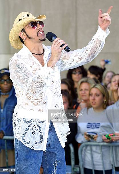 Singer A J McLean of the Backstreet Boys performs July 2 2001 on the Today Show at Rockefeller Plaza in New York City