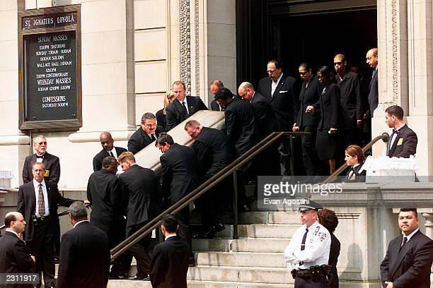 RB singer Aaliyah's coffin being carried out of St Ignatius Loyola Roman Catholic Church in New York City 8/31/2001 Photo Evan Agostini/Getty Images