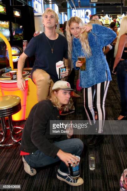 Singer Aaron Carter and guests attend Dave Buster's Hollywood Highland Grand Opening on August 21 2014 in Hollywood California