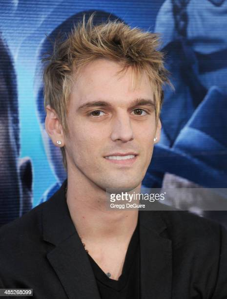 Singer Aaron Carter arrives at the Los Angeles premiere of 'A Haunted House 2' at Regal Cinemas LA Live on April 16 2014 in Los Angeles California