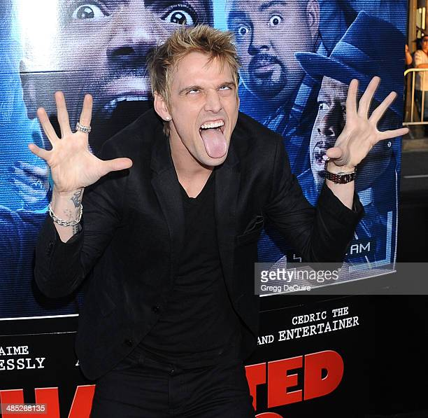 """Singer Aaron Carter arrives at the Los Angeles premiere of """"A Haunted House 2"""" at Regal Cinemas L.A. Live on April 16, 2014 in Los Angeles,..."""