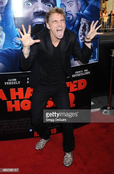 b52ba47597610 Singer Aaron Carter arrives at the Los Angeles premiere of A Haunted House 2  at Regal.