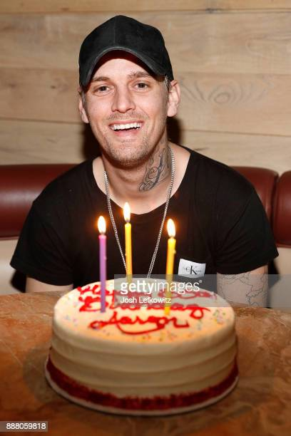 Singer Aaron Carter celebrates his 30th birthday and the release of his new single 'Don't Say Goodbye' at Il Fornaio on December 7 2017 in Woodland...