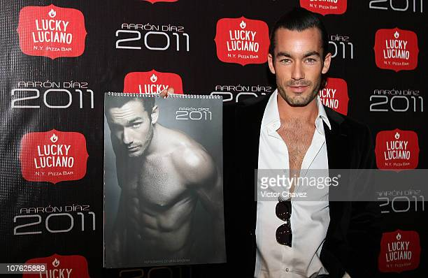 Singer Aaron Diaz attends the launch of his 2011 calendar at Lucky Luciano NY Pizza Bar on December 15 2010 in Mexico City Mexico
