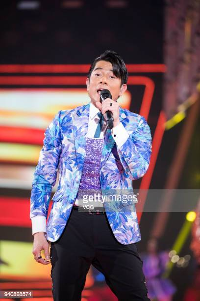 Singer Aaron Kwok performs during a launch ceremony of OPPO R15 on March 31 2018 in Shenzhen Guangdong Province of China