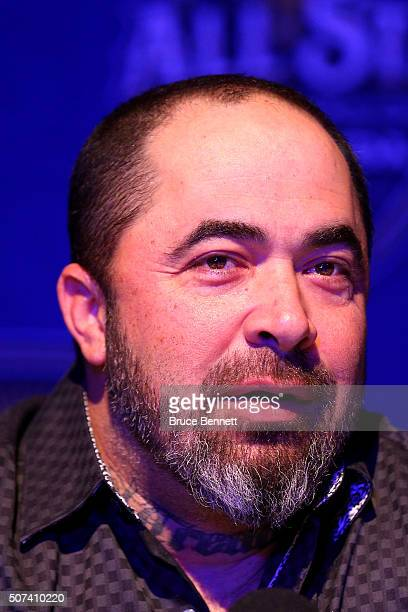 Singer Aaron Lewis speaks during Media Day for the 2016 NHL AllStar Game at Bridgestone Arena on January 29 2016 in Nashville Tennessee