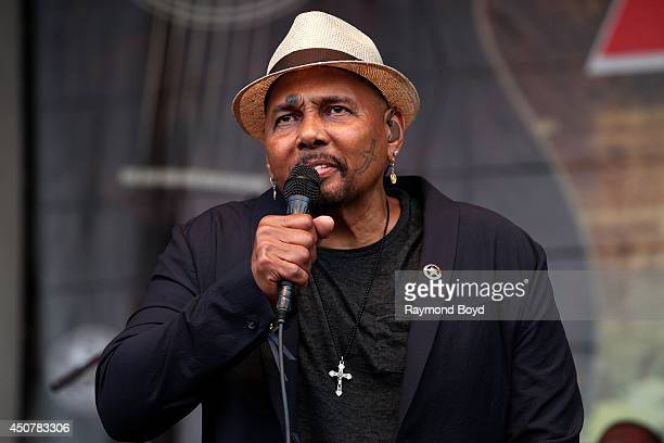 Singer Aaron Neville performs on the Petrillo Music Shell during the 31st Annual Chicago Blues Festival on June 15 2014 in Chicago Illinois