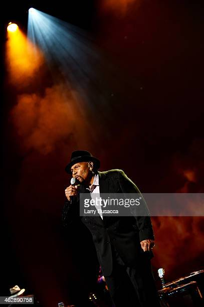 Singer Aaron Neville performs onstage at the 25th anniversary MusiCares 2015 Person Of The Year Gala honoring Bob Dylan at the Los Angeles Convention...