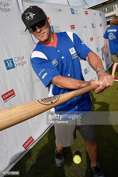 Singer Aaron Watson steps up to strike out cancer at the 25th Annual City of Hope Celebrity Softball Game 2015 at First Tennessee Park on June 13...