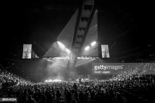 Singer Abel Makkonen Tesfaye known professionally as The Weeknd performs on stage during 'The Weeknd Starboy Legend of the Fall 2017 World Tour' at...