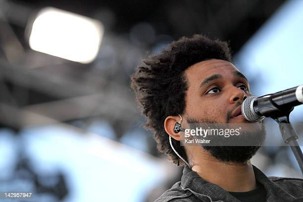Singer Abel Tesfaye of The Weeknd performs onstage during day 3 of the 2012 Coachella Valley Music Arts Festival at the Empire Polo Field on April 15...