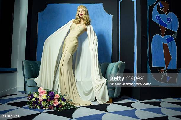 Singer, actor, director and model Arielle Dombasle is photographed for Paris Match with her new fragrance, The Secret d'Arielle, her first fragrance...