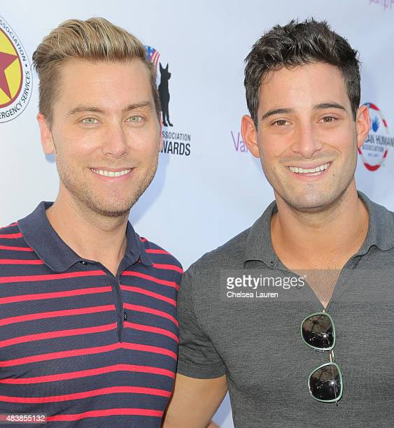 Singer / actor Lance Bass and Michael Turchin arrive at a luncheon hosted by Lisa Vanderpump benefiting The American Humane Association and the Hero...