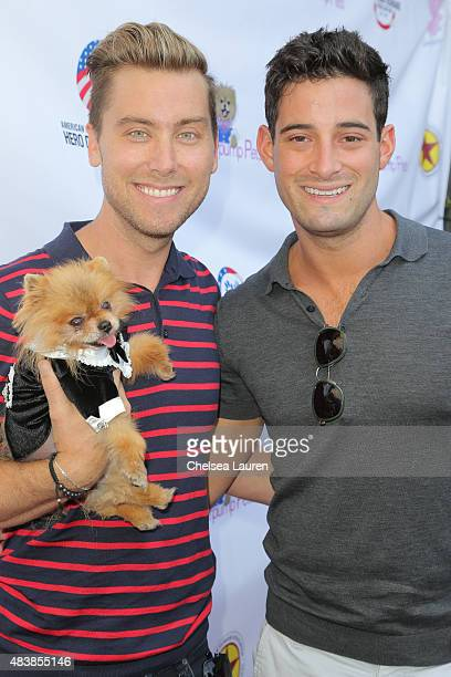 Singer / actor Lance Bass Michael Turchin and Giggy the Pomeranian arrive at a luncheon hosted by Lisa Vanderpump benefiting The American Humane...