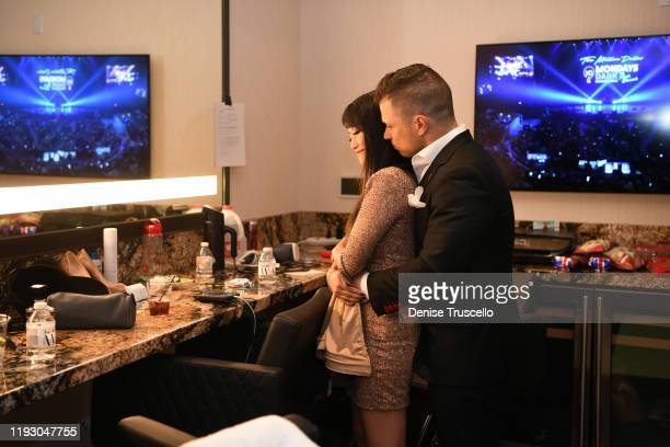 Singer/ actress and entertainer Mark Shunock backstage at the 6th anniversary of Mondays Dark With Marck Shunock at the Pearl Concert Theater at...