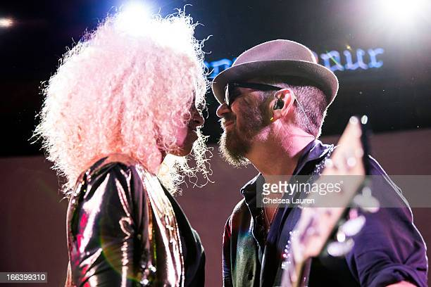 Singer / actress Holly QuinAnkrah and musician Dave Stewart perform at the Dave Stewart and Friends show at Troubadour on April 11 2013 in West...
