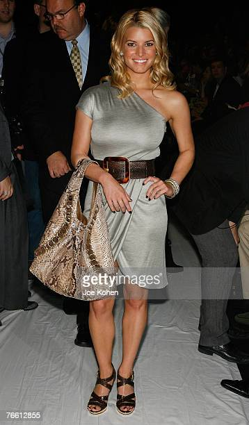 Singer actress Jessica Simpson attends Michael Kors spring 2008 fashion show during Mercedes-Benz Fashion Week Spring 2008 on Sep 9 2007 in New York...