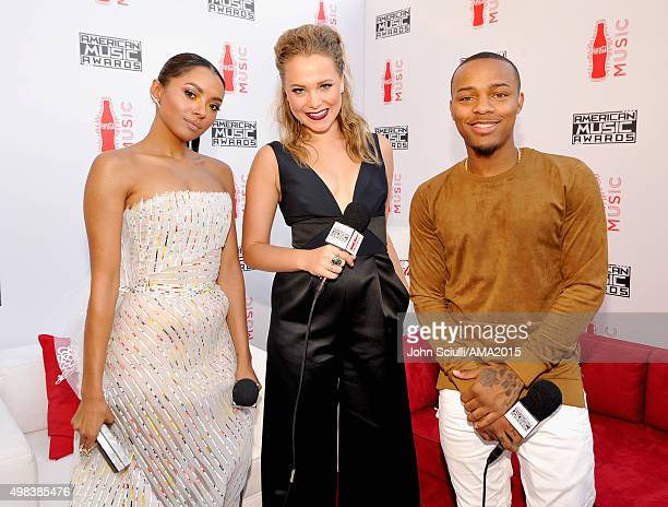 Singer/ actress Kat Graham tv personality Poppy Jamie and actor Shad Moss attend the 2015 American Music Awards at Microsoft Theater on November 22...