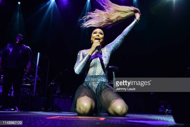 Singer / actress Tamar Braxton performs on stage during the 6th Annual Mother's Day Experience at James L Knight Center on May 12, 2019 in Miami,...