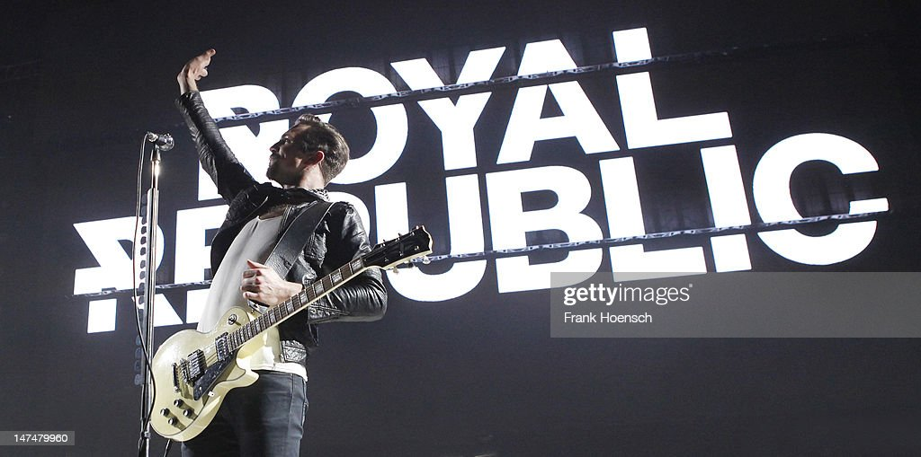 Singer Adam Grahn of the band Royal Republic performs live in support of Blink 182 during a concert at the Max-Schmeling-Halle on June 30, 2012 in Berlin, Germany.