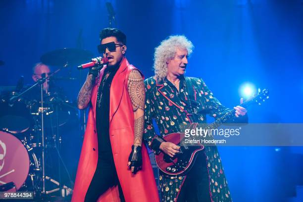 Singer Adam Lambert performs with Queen live on stage during a concert at MercedesBenz Arena on June 19 2018 in Berlin Germany
