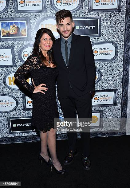 Singer Adam Lambert and his mother Leila Lambert arrive at the Family Equality Council's Annual Los Angeles Awards Dinner at The Globe Theatre on...