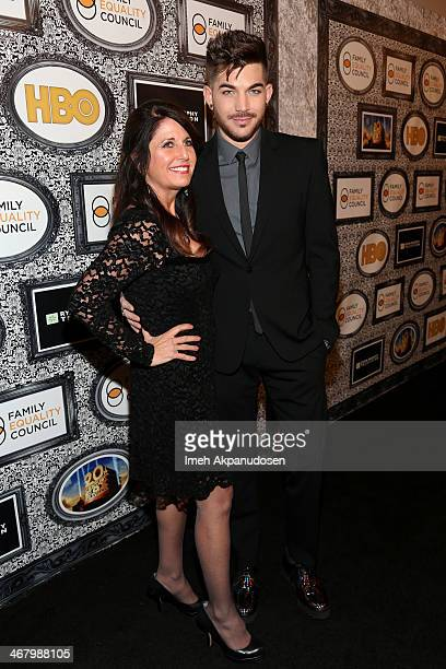 Singer Adam Lambert and Leila Lambert attend Family Equality Council's annual Los Angeles awards dinner at The Globe Theatre on February 8 2014 in...