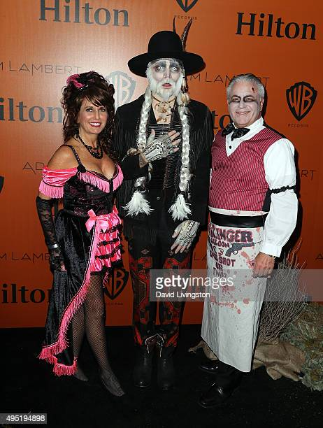 Singer Adam Lambert and mother Leila Lambert attend Adam Lambert's Ghost Town Halloween party hosted by Hilton@PLAY at The Beverly Hilton Hotel on...