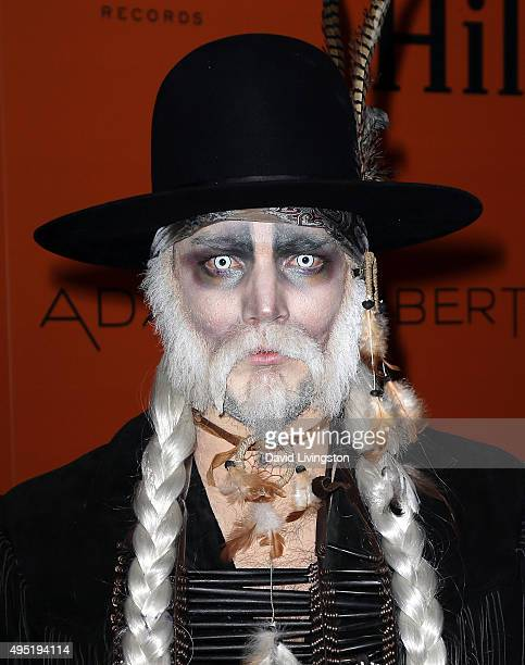 Singer Adam Lambert attends Adam Lambert's Ghost Town Halloween party hosted by Hilton@PLAY at The Beverly Hilton Hotel on October 31 2015 in Beverly...