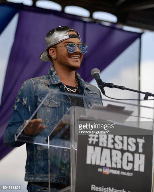 Singer Adam Lambert attends the LA Pride ResistMarch on June 11 2017 in West Hollywood California