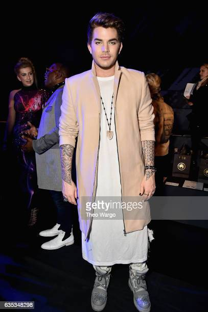 Singer Adam Lambert attends the The Blonds collection during New York Fashion Week The Shows at Gallery 1 Skylight Clarkson Sq on February 14 2017 in...