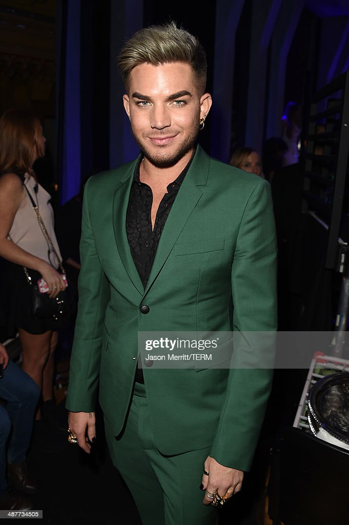 Singer Adam Lambert backstage at the 2014 iHeartRadio Music Awards held at The Shrine Auditorium on May 1, 2014 in Los Angeles, California. iHeartRadio Music Awards are being broadcast live on NBC.