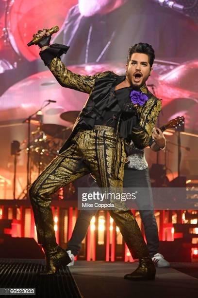 Singer Adam Lambert of Queen + Adam Lambert performs at Madison Square Garden on August 06, 2019 in New York City.